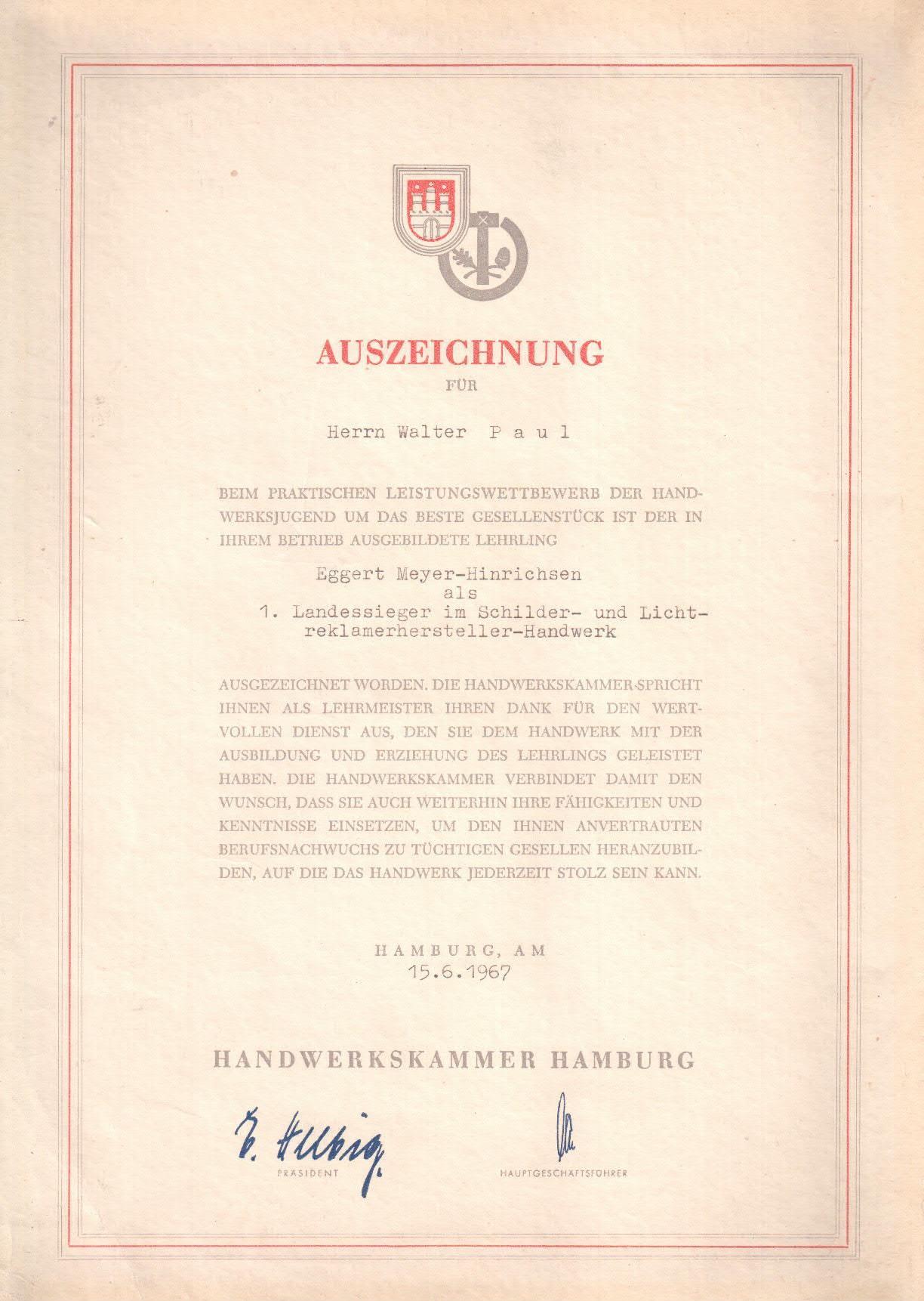 Auszeichnung 1967 1ster Platz Landessieger