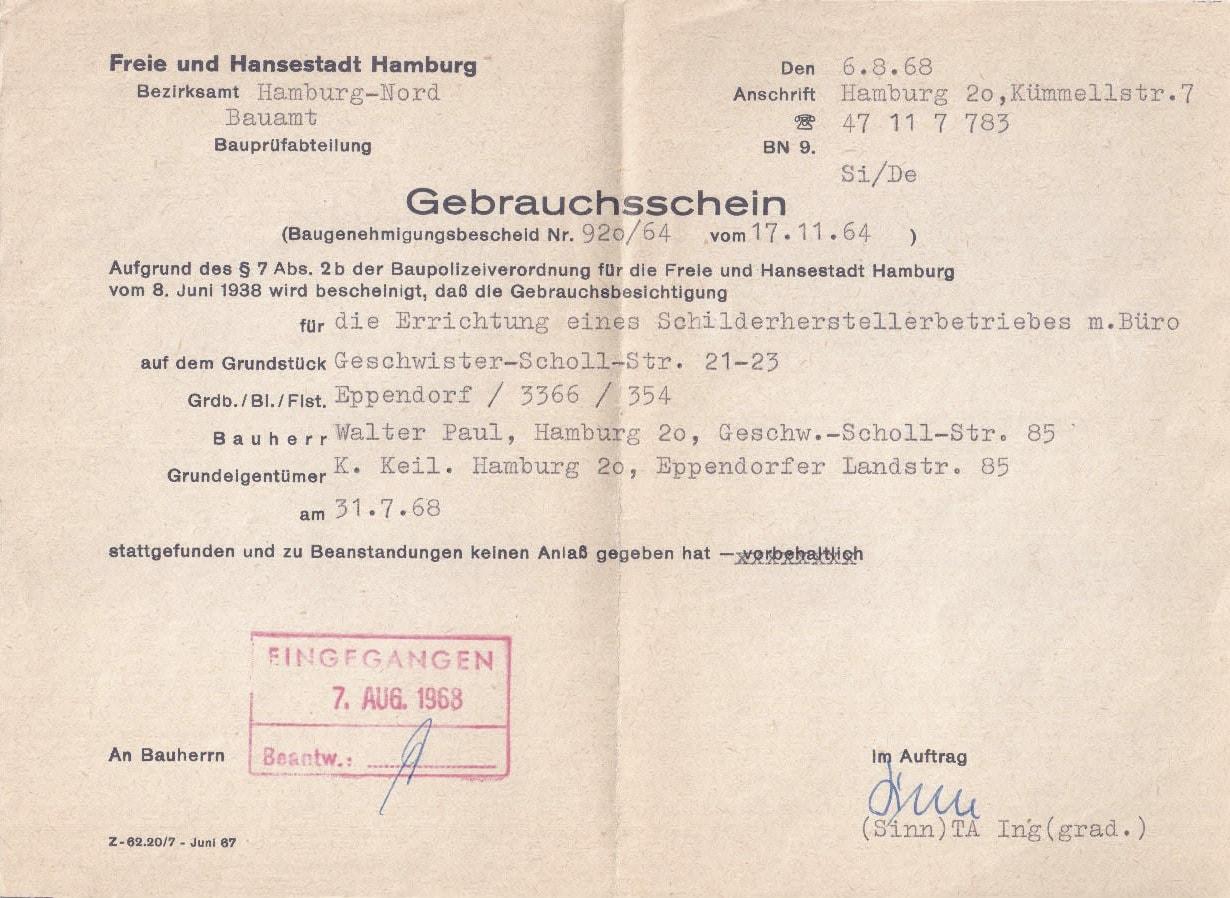 Gebrauchsschein 1964
