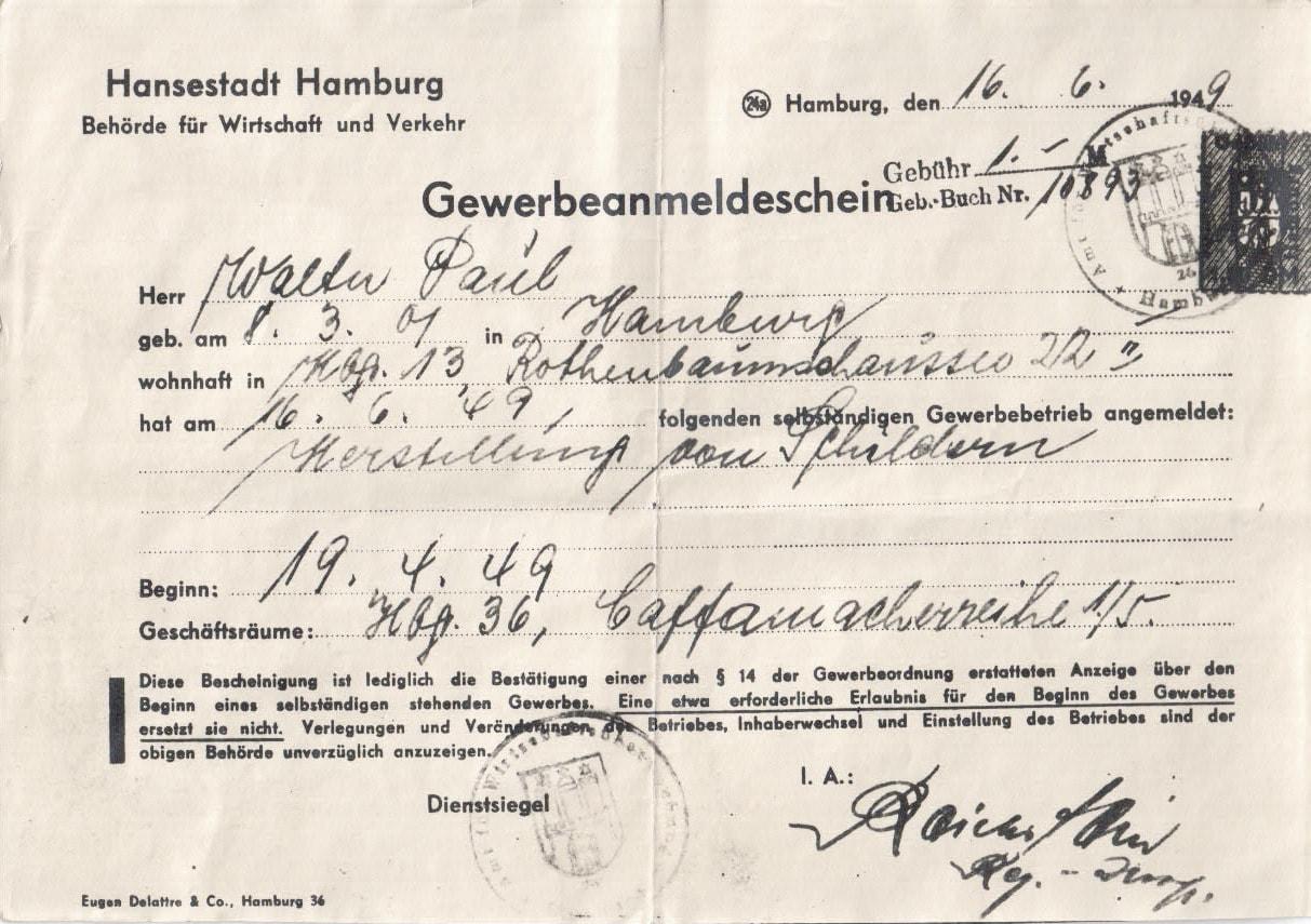 Gewerbeanmeldung 1949