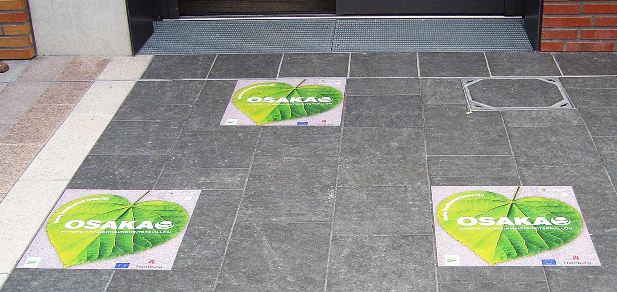 Fussbodenfolien mit zertifizierten Schutzlaminaten von Vorteil Werbung aus Hamburg.