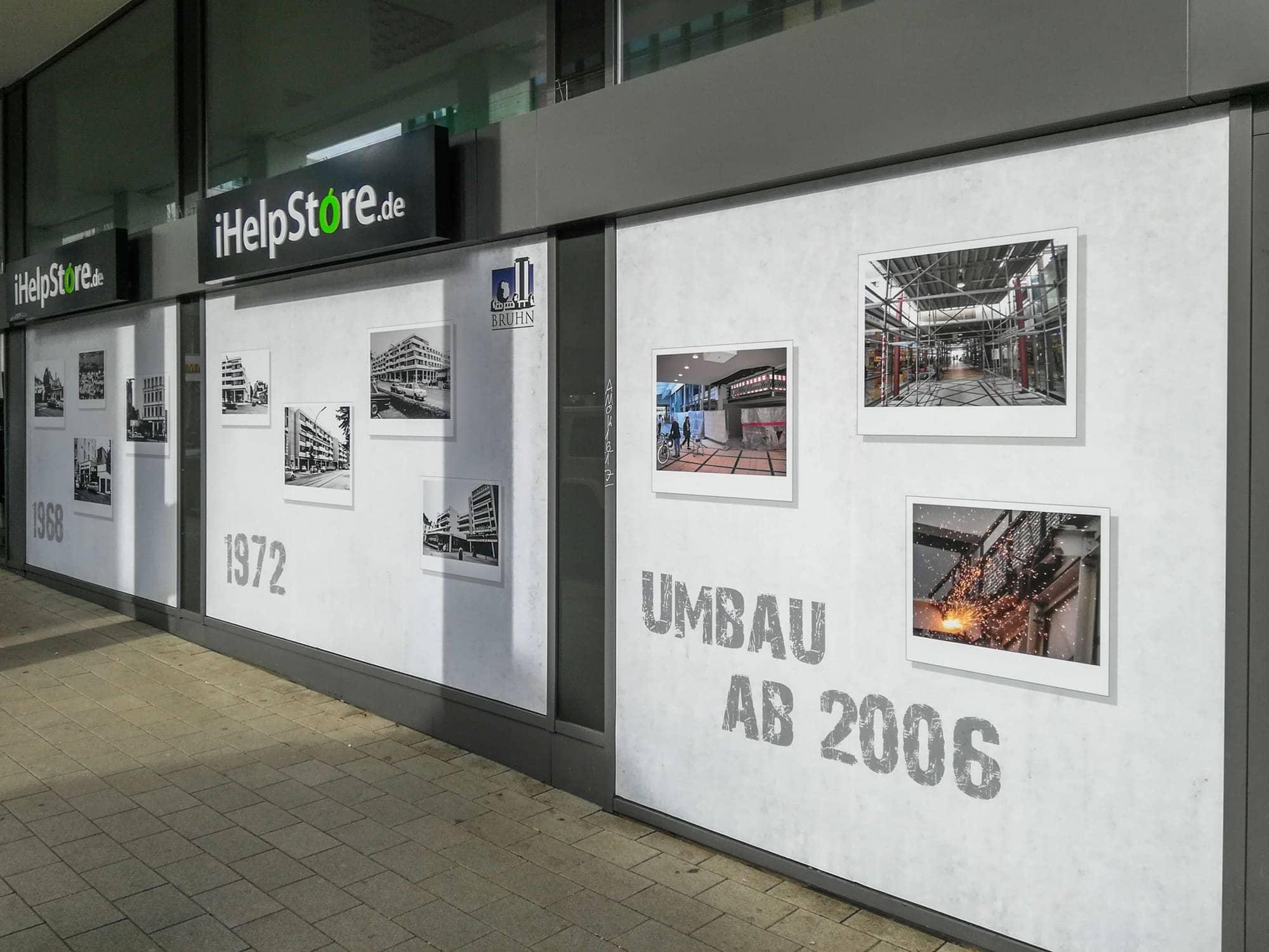 Schaufensterbeklung mit digital bedruckten Folien am Hamburger Pöseldorf-Center
