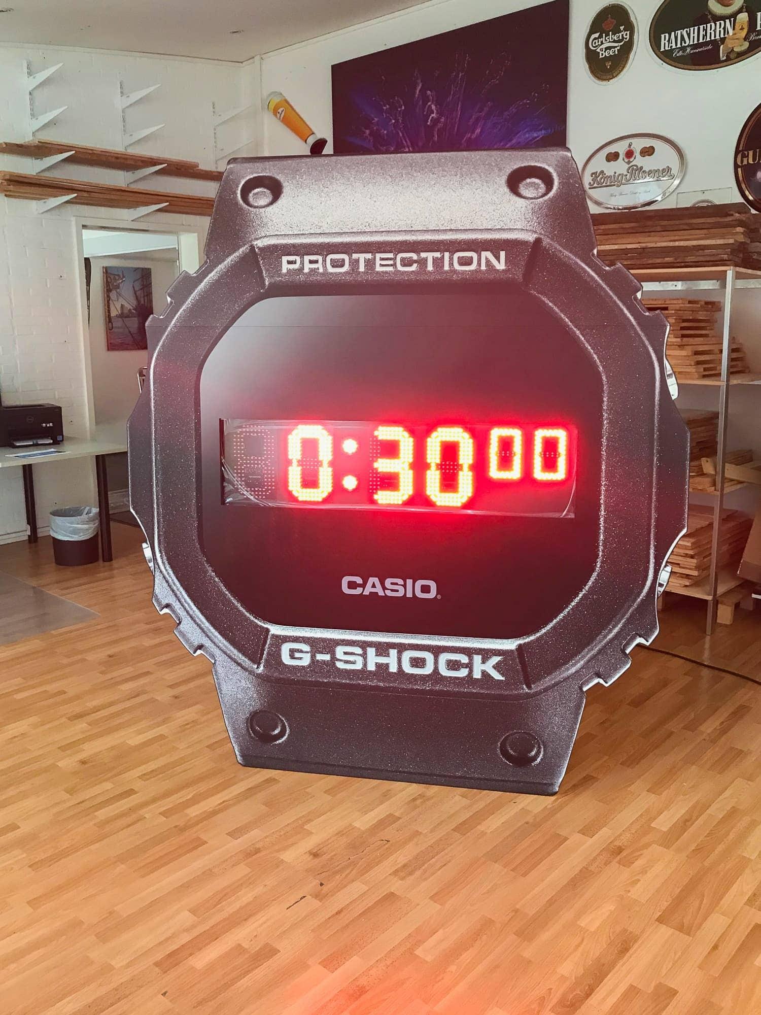 Freistehende LCD Uhr für CASIO G-Shock, als große Stoppuhr für Veranstaltungen